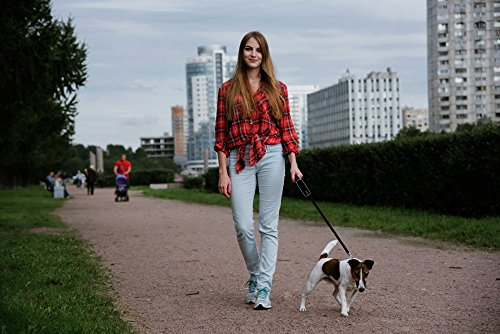 woman walking dog with retractable leash